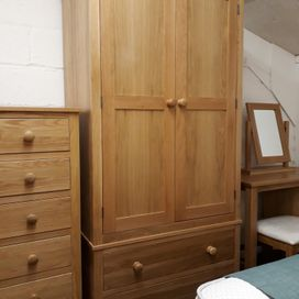 Devon made oak 2 door/2 drawer robe was £645 now £595