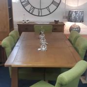 Tuscany oak dining set. Shop floor clearance, extending oak table + 6 olive fabric low back chairs. Was £1500 now £1100