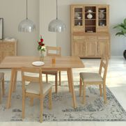 Scandi oak dining set. Extending oak table 1.2mt to 1.5mt with 4 low back chairs was £915 now £799.