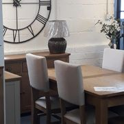 Tuscany oak dining set. Shop floor clearance, extending oak table + 4 beige fabric chairs. Was £1215 now £975